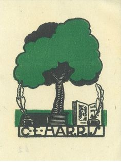 Bookplate by George D Perrottet for CE Harris.