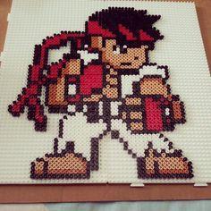 Ryu perler bead sprite by ddralson on deviantart