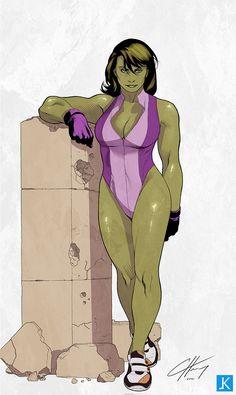 She-Hulk - line art: Clayton Henry, color: kopuli.deviantart.com