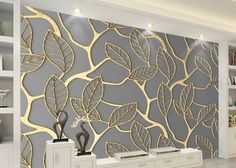 D Gold Leaf Design Wallpaper Wall Mural For Home Or Business - Unique D Golden Leaves Pattern Wallpaper Mural Gold Leaf Design For Your Home Or Business Creative Wall Art Decor Can Be Customized To Your Room Size Shipping Is Free Worldwide Wall Art Wallpaper, Pattern Wallpaper, 3d Wallpaper Designs For Walls, Forest Wallpaper, Wallpaper For Home, Golden Wallpaper, Unique Wallpaper, Diy Wall Art, Wall Art Decor