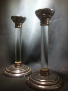 Handsome Vintage Mid Century Candle Holders - LUCITE Acrylic and Silver Metal