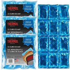 "4 Pack Ice Mats Reusable 12-Cube 6"" x 12"" Freezer Cold Packs For Cooler Lunch Boxes. For product & price info go to:  https://all4hiking.com/products/4-pack-ice-mats-reusable-12-cube-6-x-12-freezer-cold-packs-for-cooler-lunch-boxes/"