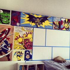 Super Hero Bedroom - I continued to fill in each of the boxes little by little