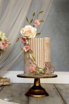 Elegant Birthday Cakes, Beautiful Birthday Cakes, Elegant Cakes, Beautiful Wedding Cakes, Gorgeous Cakes, Pretty Cakes, Cute Cakes, Cake Icing, Fondant Cakes