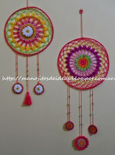 Afbeeldingsresultaat voor mandalas tejidos al crochet patrones Crochet Wall Art, Crochet Owls, Crochet Diy, Crochet Circles, Crochet Home Decor, Learn To Crochet, Dreamcatcher Crochet, Mandala Au Crochet, Yarn Bombing