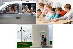 Three photos: (left) Parents and two children look out the windows of their van. (right) five young students and a teacher use three laptop computers at a table. (bottom) Two kids stand at the base of a tall wind turbine in a wind farm, with more three-paddle turbines in the background.