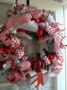 Silver and Red Chrismas Wreath