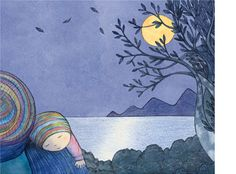 'Kissed by the Moon (cover artwork)', limited edition print by Alison Lester.  From picture book 'Kissed by the Moon' (Penguin Books).   Available at Books Illustrated.