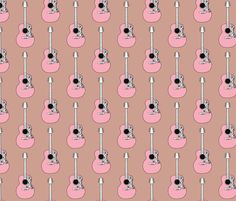 Pink acoustic guitar music design for girls by littlesmilemakers, click to purchase fabric