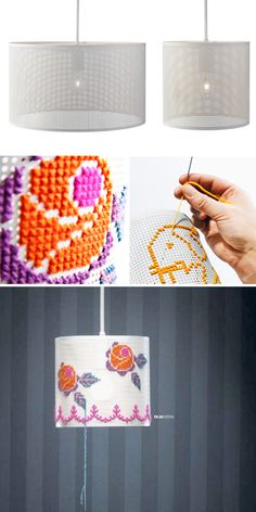 DIY Cross Stitch Lamp. would use the idea and make it myself with an old sh