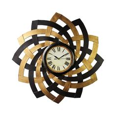Black, Beech and Maple Metal Petal Wall Clock ($85) ❤ liked on Polyvore featuring home, home decor, clocks, metal wall clock, flower stem, black clock, black home decor and black metal clock