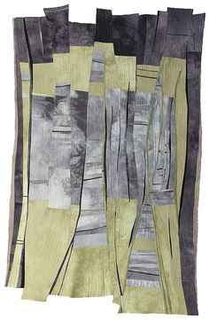 """Beth Carney Studio / Gallery - Current Works Series Chasms 12 2012 49"""" x 31"""" Hand-dyed cotton by the artist. Machine pieced, machine quilted.  Chasms 12 is a playful conversation between my two series, Structured Chaos and Chasms."""