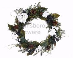 White Flower Blueberry Wreath, 40cm @ gainsboroughgiftware.com Grapevine Wreath, Grape Vines, White Flowers, Blueberry, Woodland, Christmas Wreaths, Holiday Decor, Home Decor, Berry