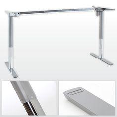 elektrisch verstelbaar bureau met zilver onderstel