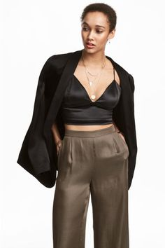Askılı Kısa Saten Üst - Siyah - Ladies   H&M TR