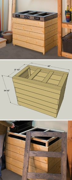 Make it easy to keep your recyclables separated with this recycling bin. It holds three 23-gallon plastic trash bins that can easily be removed, and houses them in a handsome wood cabinet. The center is made from 1x4, 1x6, and 2x2 boards, and it goes together with pocket-hole screws and nails.