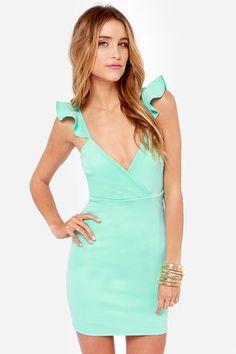 Everyday I'm Rufflin' Mint Blue Bodycon Dress at LuLus.com! $39