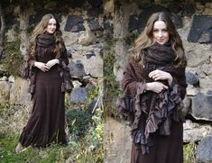 3 Super cute shawl& cape in natural alpacca & wool knitted lace with wooden buttons and rose details and bohemian fringes <3  Size: one size Fit to anyway from S to L  Unique piece created with love and care by Oona ❤*~...