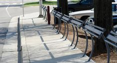 Leaning rails from Keystone Ridge Designs installed at a public bus stop. A great alternative to traditional bench seating for transit center design. Traditional Benches, Public Square, Bench Designs, Beautiful Sites, Bus Stop, Site Design, Main Street, Urban Design, Portfolio Design