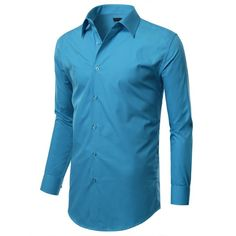 Mens Slim Fit Dress Shirt w/ Reversible Cuff (Big&Tall Available) ($22) ❤ liked on Polyvore featuring men's fashion, men's clothing, men's shirts, men's dress shirts, mens french cuff dress shirts, mens big and tall shirts, mens big and tall dress shirts, big tall mens shirts and mens slim fit dress shirts