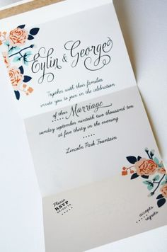 Tea Roses Bow-Tie Wedding Invitation by Baumbirdy