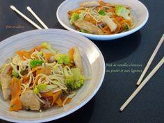 Wok de nouilles chinoises au poulet et aux légumes : Diet & Délices - Recettes dietétiques