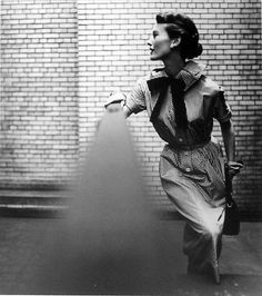 1955 Mary Jane Russell    Wearing gingham check shirt-waist dress, photo by Frances McLaughlin-Gill. thanks to skorver1