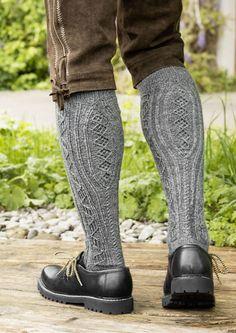 Richly textured men's knee high socks are knit from popular and durable REGIA Mens Knee High Socks, Knee Socks, Knitting Socks, Baby Knitting, Knitting Designs, Knitting Patterns, Crochet Patterns, Alpine Style, Lederhosen