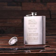 Silver Etched 7 oz. Stainless Steel Whiskey Flask