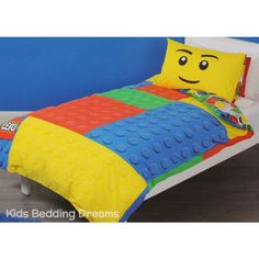 Lego quilt cover set available in single and double bed sizes from Kids Bedding Dreams. Perfect for children that love the plastic building blocks and great for a girls or boys bedroom.