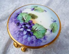 "Beautiful Bavaria 1900's Hand Painted ""Violets"" 3-Footed Dresser Box from labazaar on Ruby Lane"
