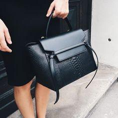 celine belt bag in black python