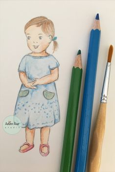 Drawing a little cute character girl in country vintage style. I am using reference photo from my little cute niece. I have not given this character a name yet. Will come up with something soon. :) Vintage Country, Vintage Art, Vintage Style, Cute Girl Illustration, Watercolor Illustration, Pretty Girl Drawing, Pretty Girls, Cute Girls, Cute Characters