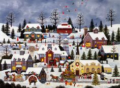 """Jane Wooster Scott Handsigned and Numbered Limited Edition Print:""""Good Wishes, Good Cheer"""" - Jane Wooster Scott Illustration Noel, Christmas Illustration, Illustrations, Christmas Scenes, Christmas Art, Vintage Christmas, Farm Art, Winter Art, Naive Art"""