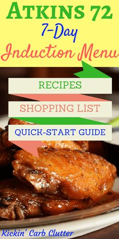 Atkins 72 Seven-Day Induction Menu, Recipes, Shopping List, and Quick-Start Guid. Atkins 72 Seven- Induction Recipes, Atkins Diet Recipes Phase 1, Atkins Induction, Atkins Recipes, New Atkins Diet, Atkins Meal Plan, Atkins 20, Diet Meal Plans, Atkins Meals