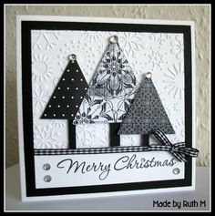 Flower Sparkle: 2 Black & White Christmas Tree Trio Cards