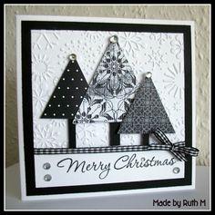 Flower Sparkle: 2 Black & White Christmas Tree Trio Cards