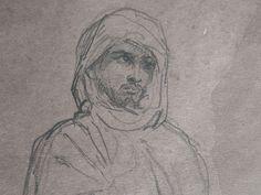 CHASSERIAU Théodore,1846 - Arabe debout, retenant un pli de son Burnous - drawing - Détail 04