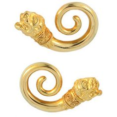 Preowned Lalaounis Gold Lion Ear Clips (48,760 MXN) ❤ liked on Polyvore featuring accessories, hair accessories, multiple, gold hair accessories and lalaounis