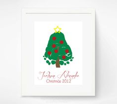 Baby's First Christmas Baby Footprint by PitterPatterPrint, $30.00