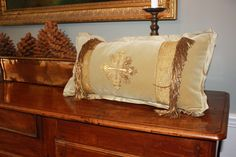 Antique ecclesiastical motif applied to beige velvet with antique metallic galon by E Alexander Designs Bed Pillows, Cushions, Pillow Cases, Bedrooms, Metallic, Textiles, Velvet, Inspire, Beige