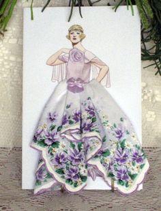 1923 Callot  Soeurs  Evening Gown Keepsake Hanky by onceuponahanky, $10.00