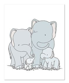 Look what I found on #zulily! Elephant Family Art Print #zulilyfinds