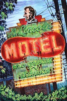 vintage neon sign art, Alison Studios, Fine Art, Original Watercolor Paintings, Vintage Neon Sign Paintings ROUTE 66 #boulderinn