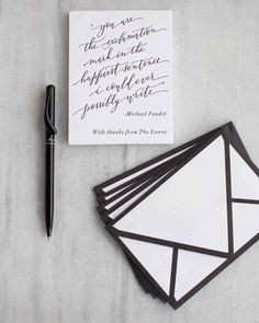 A Super-Stylish and Beautifully Personal California Wedding   Martha Stewart Weddings – Thank-you cards featured a letterpress of the couple's favorite quote, again calligraphed by Anne Robin; envelopes were tipped with thick charcoal piping.