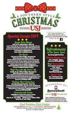 "USJ Holiday Mart ""A Southern Style Christmas"" Is Coming November 21-23  											 In the South we love tradition, and one Holiday tradition in West Tennessee is the University School of Jackson's annual Holiday Mart. In its 44th year, this year's Mart is ""A Southern Style Christmas"" and will feature over 100 merchants from across the Southeast..   Visit usjholidaymart.com"