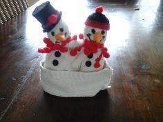 sneeuwpop van een washandje