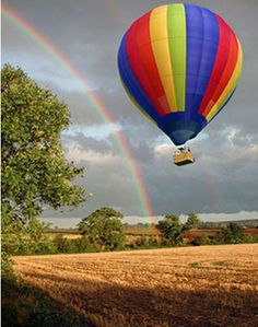 Hot Air Balloon rides over Bedfordshire ..see the rainbow?