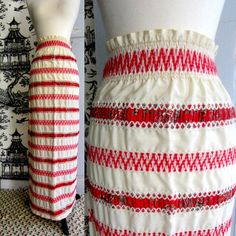 1970s Red Ethnic Maxi Skirt $44.00