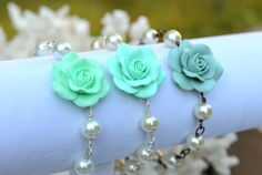 Hey, I found this really awesome Etsy listing at https://www.etsy.com/listing/167706415/mint-green-rose-bracelet-tiffany-mint
